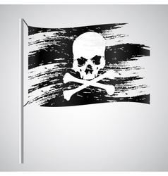 Black pirate flag grunge style with skull eps10 vector