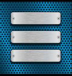 Blue metal perforated background with chrome vector
