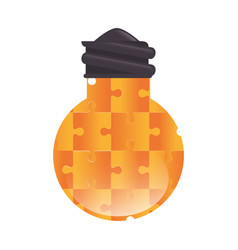 Bulb light with puzzle pieces education icon vector