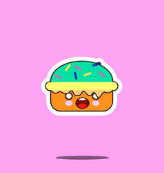 Cake macaron smile cartoon face food kawaii flat vector