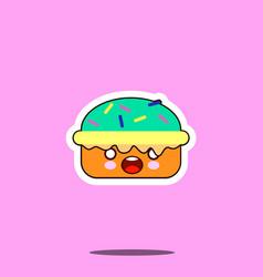cake macaron smile cartoon face food kawaii flat vector image vector image