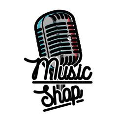 Color vintage music shop emblem vector