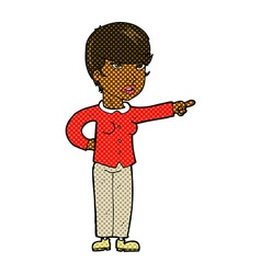 Comic cartoon woman pointing finger of blame vector