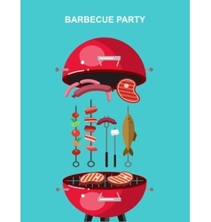 Different kind of meat on the grill vector image vector image