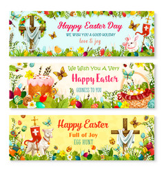 Easter cartoon banner with spring holiday symbols vector