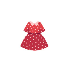 flat cartoon kid girl red dotted dress vector image vector image