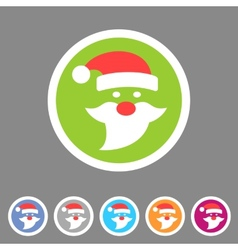 Flat santa claus christmas icon vector