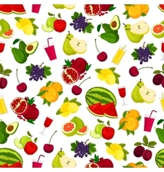 Fresh ripe fruits and juicy drinks pattern vector