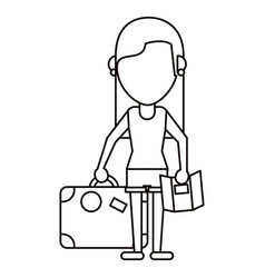 girl map travel suitcase thin line vector image vector image