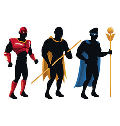 Group superhero people costume character vector