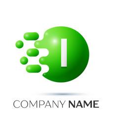 I letter splash logo green dots and circle bubble vector