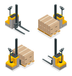 isometric compact forklift trucks isolated vector image vector image