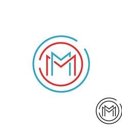 Letter m logo circle frame monogram mockup line vector