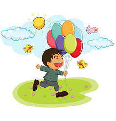 Little boy holding balloons in the park vector