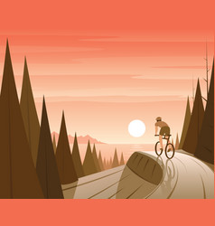 Mountain bike riding in forest and coast scene vector