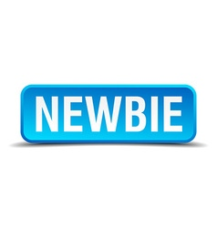 Newbie blue 3d realistic square isolated button vector