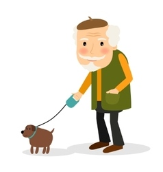 Old man walking with dog vector