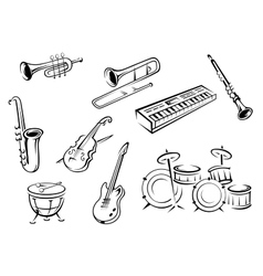 Outline strings wind keyboard and percussion vector image vector image