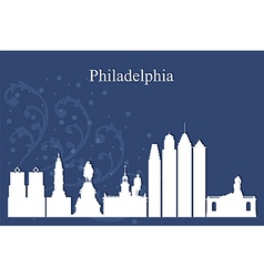 Philadelphia city skyline on blue background vector
