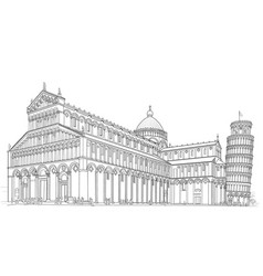 pisa cathedral and tower vector image vector image