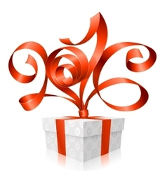 red ribbon and gift box 2016 vector image vector image