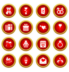 Saint valentine icon red circle set vector
