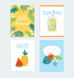 Set of hand drawn summer journaling cards vector