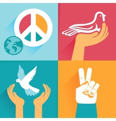 set of peace signs and symbols vector image vector image