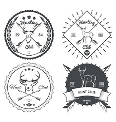 Set of vintage deer icons emblems and labels vector image