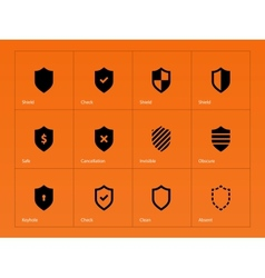 Shield icons on orange background vector image vector image