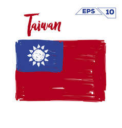 Taiwan flag brush strokes painted vector