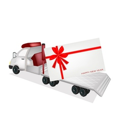 Tractor trailer flatbed sending a new year card vector