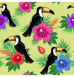 Tropical flowers and toucan pattern vector image vector image