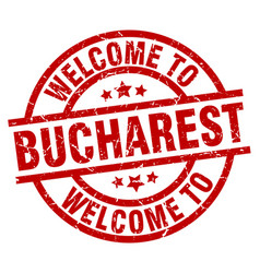 Welcome to bucharest red stamp vector