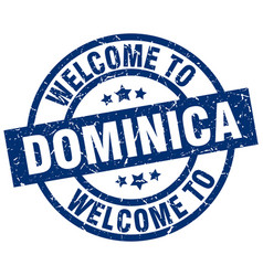 welcome to dominica blue stamp vector image