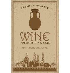 Wine label with with jug clay vector