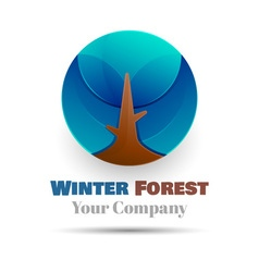 Winter forest icon with round shadow volume logo vector