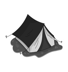 Yellow tent icon in monochrome style isolated on vector image