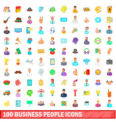 100 business people icons set cartoon style vector