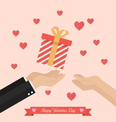 Man giving gift box to a woman vector
