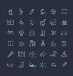 Modern thin line icons set of biochemistry vector