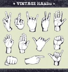 set of vintage hands vector image
