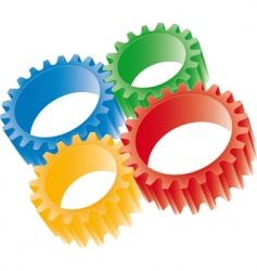 3d colorful gears vector image vector image