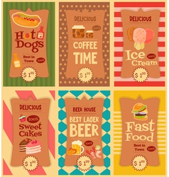 food stickers set vector image