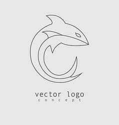 Shark logo in line design style vector