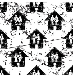 Couple house pattern grunge monochrome vector