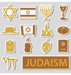 Judaism religion symbols set of stickers eps10 vector