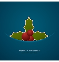 modern christmas berries on blue background vector image