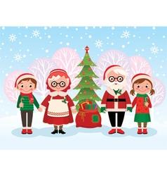 Santa claus and children celebrate christmas vector