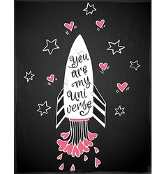 Hand drawn rocket and hearts vector